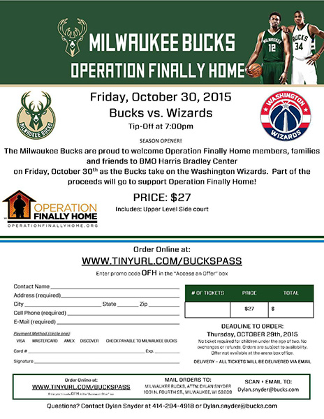Operation Finally Home Wisconsin - Milwaukee Bucks Fundraiser