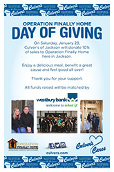 Operation Finally Home Wisconsin - Day of Giving at Jackson, WI Culver's