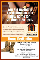 Operation Finally Home Wisconsin - Home Dedication - June 4, 2016